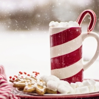 Schiebepuzzle mit dem Motiv Heisse Schokolade im Winter