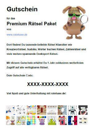Gutschein für das Premium Rätsel Paket - Für eine größere Ansicht bitte klicken