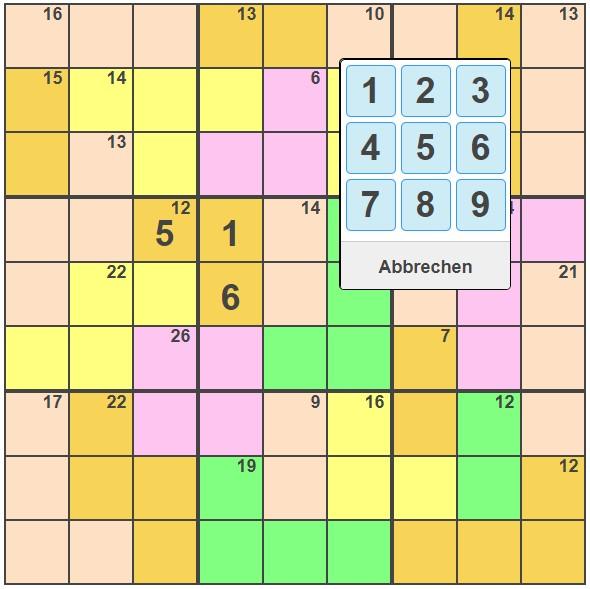 Killer Sudoku Rätsel Rätsel Hilfe