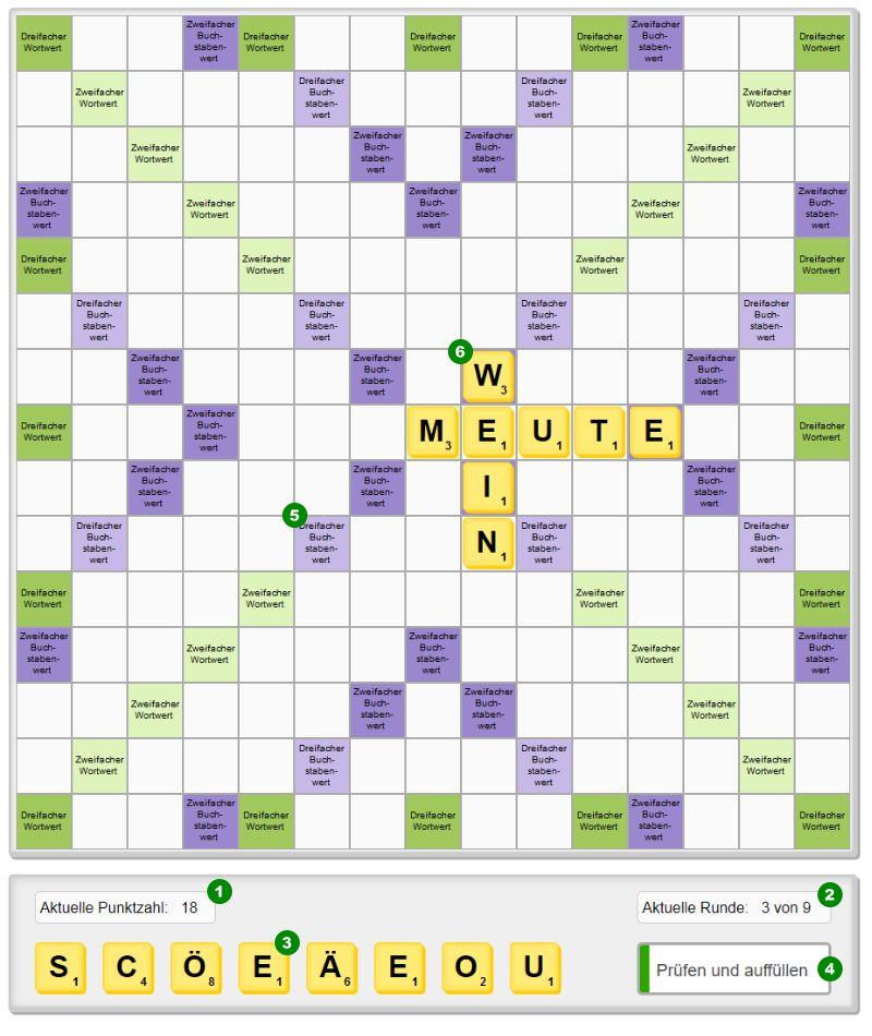 So funktioniert das kostenlose online Wörter Puzzle Rätsel